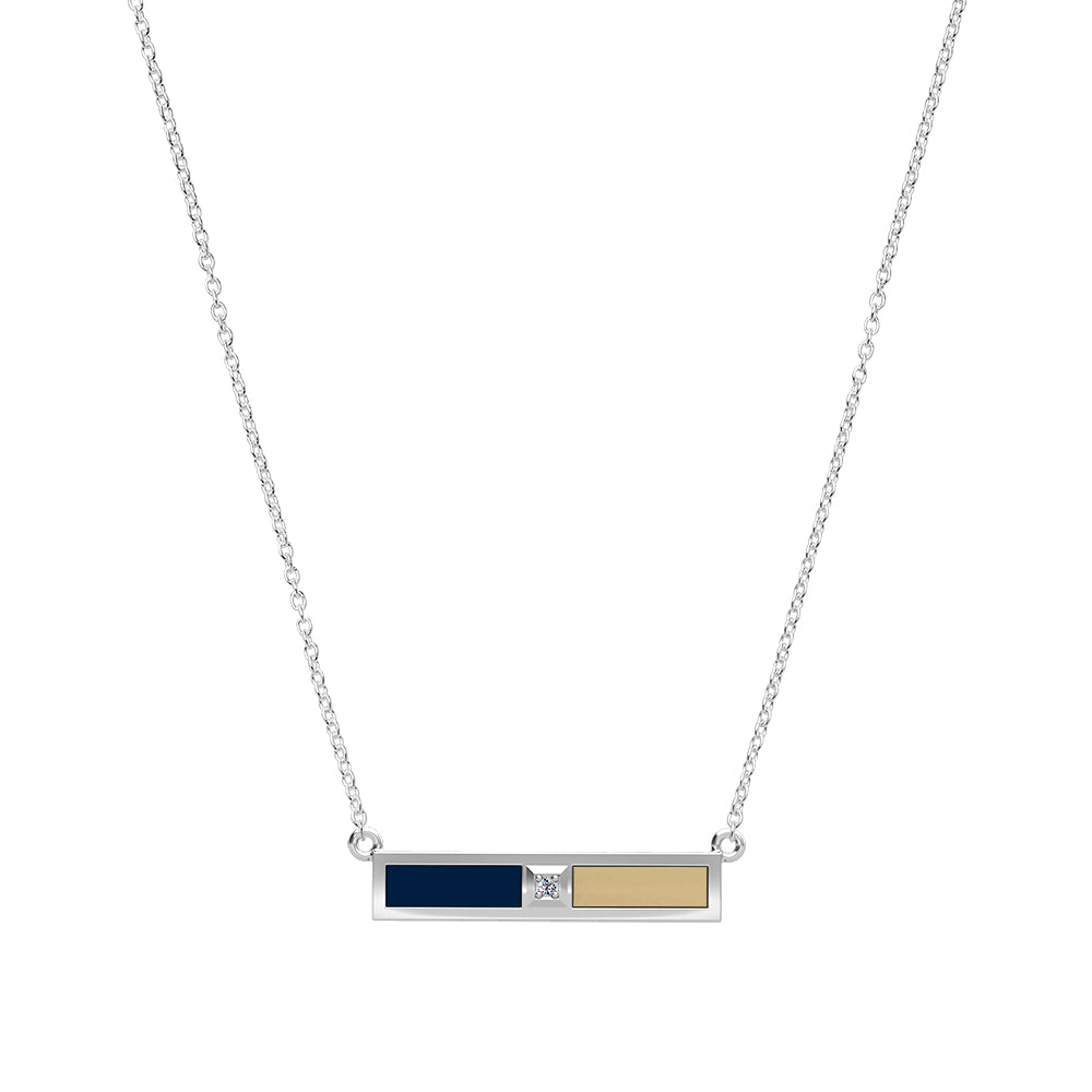 Diamond Bar Necklace in Dark Blue and Tan Size 20