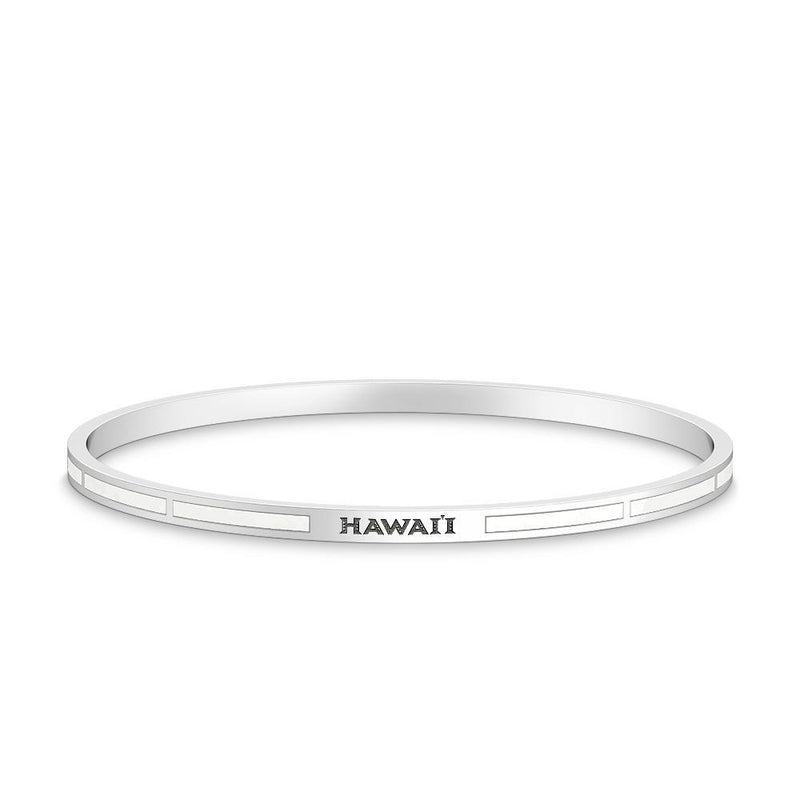 Hawaii Engraved Enamel Bracelet in White Size S