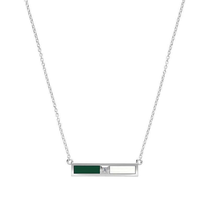 Diamond Bar Necklace in Green and White Size 16
