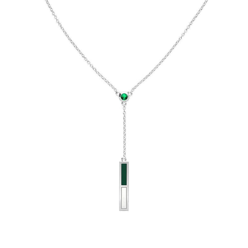 Emerald Drop Necklace in Green and White Size 16
