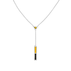 Yellow Sapphire Drop Necklace in Yellow and Black Size 18