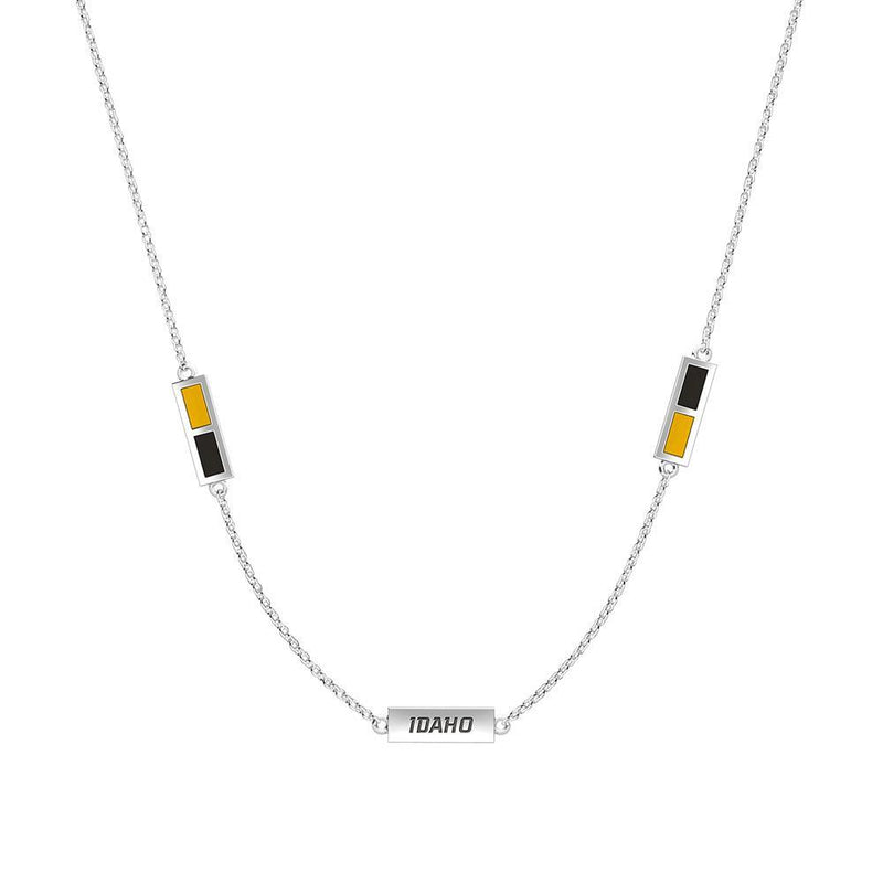 Idaho Engraved Triple Station Necklace in Yellow and Black Size 20