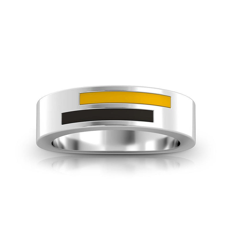 Asymmetric Enamel Ring in Yellow and Black Size 10