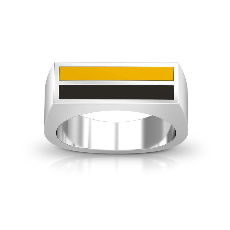 Enamel Ring in Yellow and Black Size 9