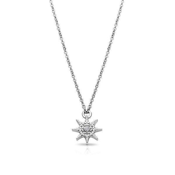 Single Diamond Starlight Pendant Necklace in Sterling Silver