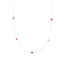 Gemstone Medley Dew Drop 5-Station Necklace in White Gold
