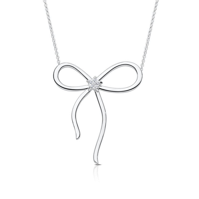 Diamond Bow Pendant Necklace in Sterling Silver