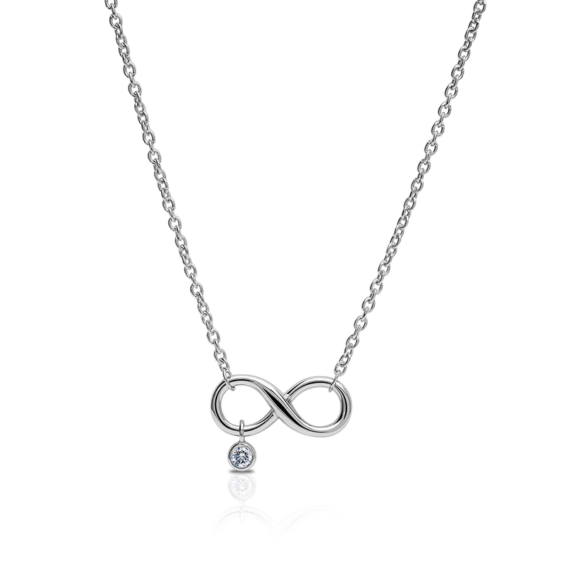 Diamond Infinity Pendant Necklace in Sterling Silver