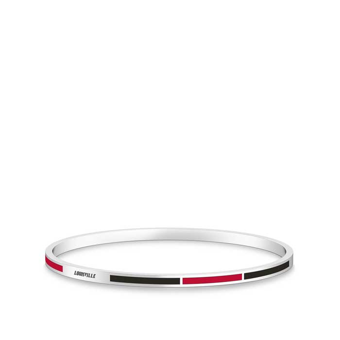 Louisville Engraved Two-Tone Enamel Bracelet in Red and Black Size M