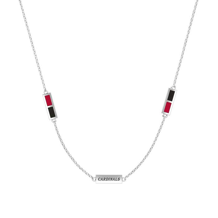Cardinals Engraved Triple Station Necklace in Red and Black Size 20