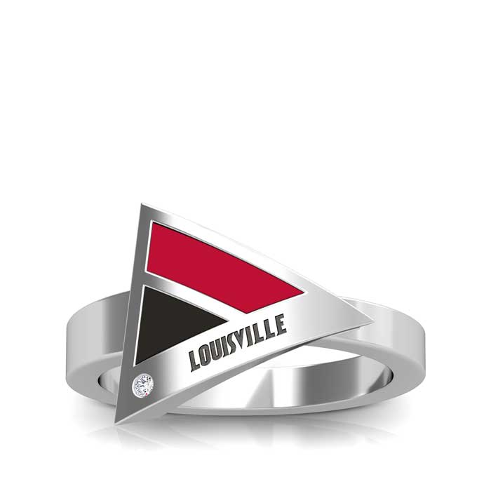 Louisville Engraved Diamond Geometric Ring in Red and Black Size 9