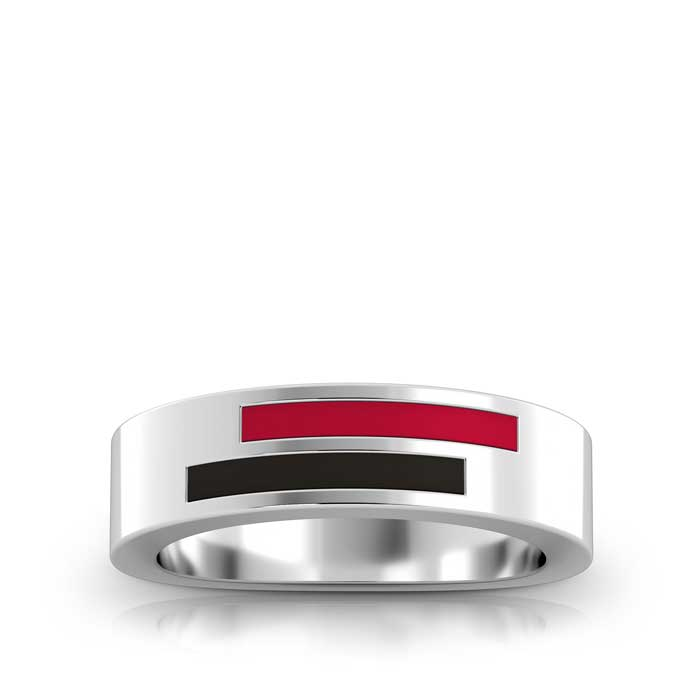 Asymmetric Enamel Ring in Red and Black Size 9