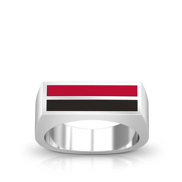 Enamel Ring in Red and Black Size 12