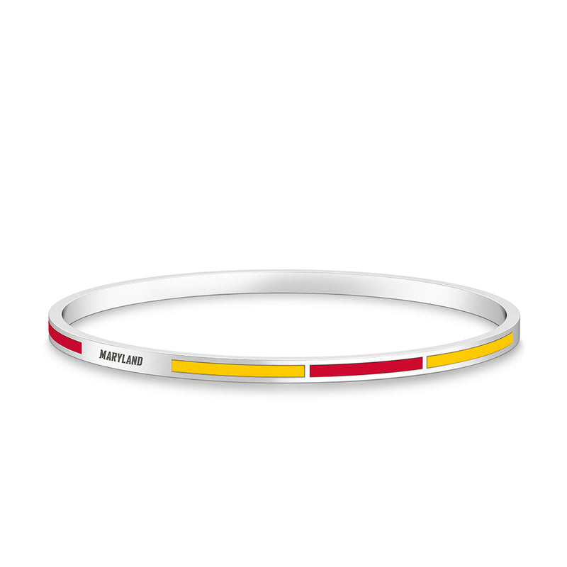 Maryland Engraved Two-Tone Enamel Bracelet in Red and Yellow Size L
