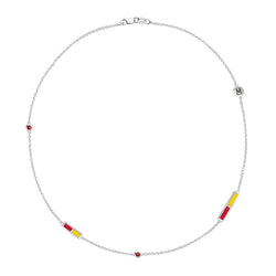 Terrapins Logo Engraved Ruby 5-Station Necklace in Red and Yellow Size 21