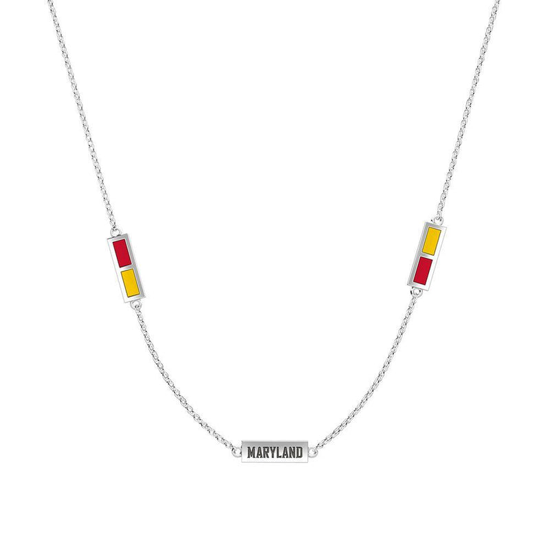 Maryland Engraved Triple Station Necklace in Red and Yellow Size 18