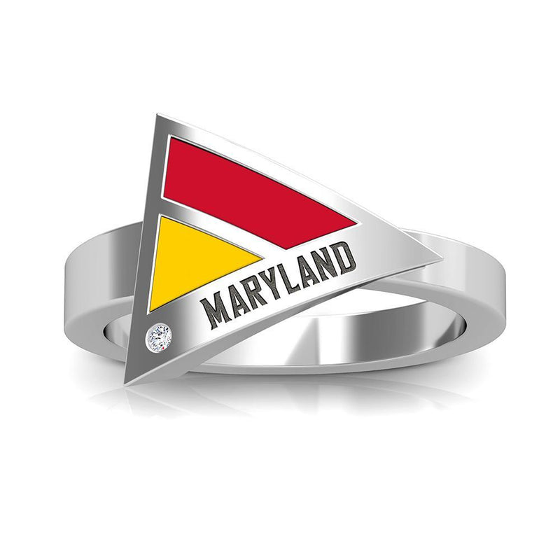 Maryland Engraved Diamond Geometric Ring in Red and Yellow Size 8