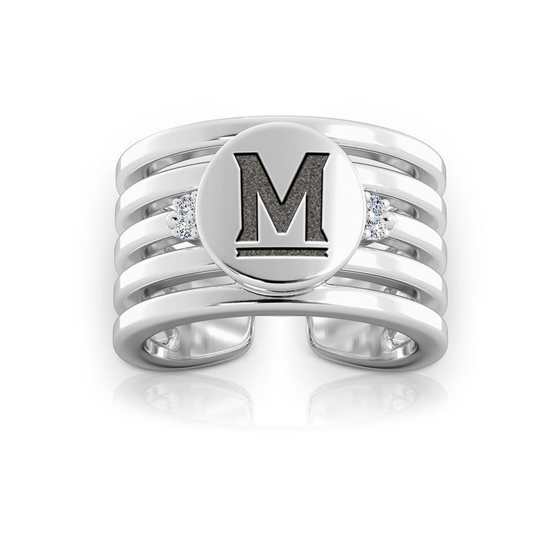 Terrapins Logo Engraved Multiband Cuff Ring Size 8