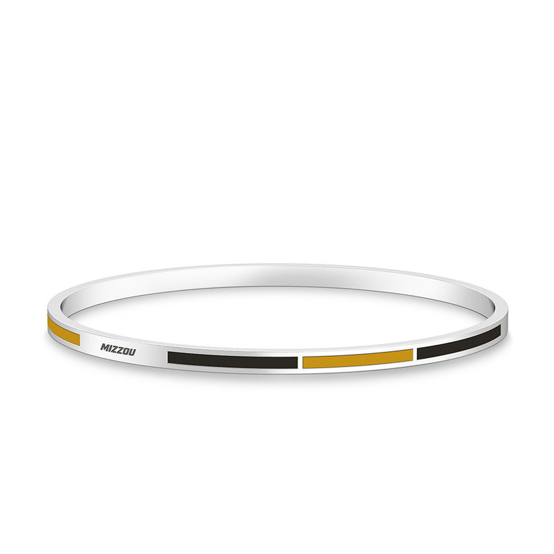 Mizzou Engraved Two-Tone Enamel Bracelet in Yellow and Black Size L