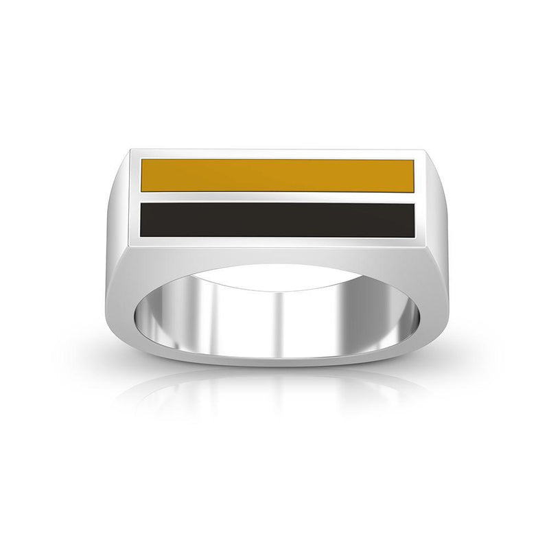 Enamel Ring in Yellow and Black Size 10