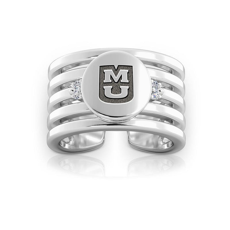 Tigers Logo Engraved Multiband Cuff Ring Size 6