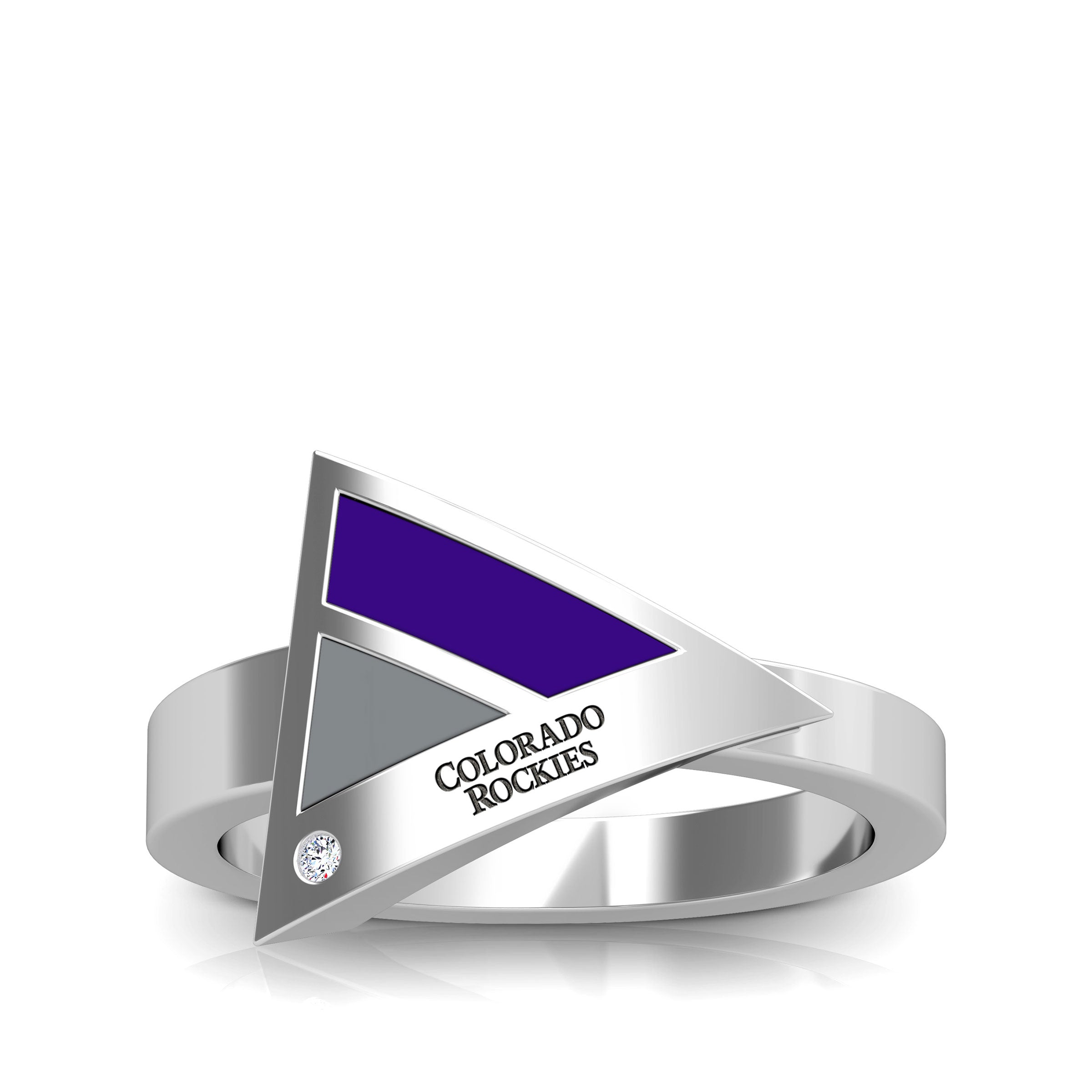 Rockies Engraved Diamond Geometric Ring in Purple and Light Grey Size 9