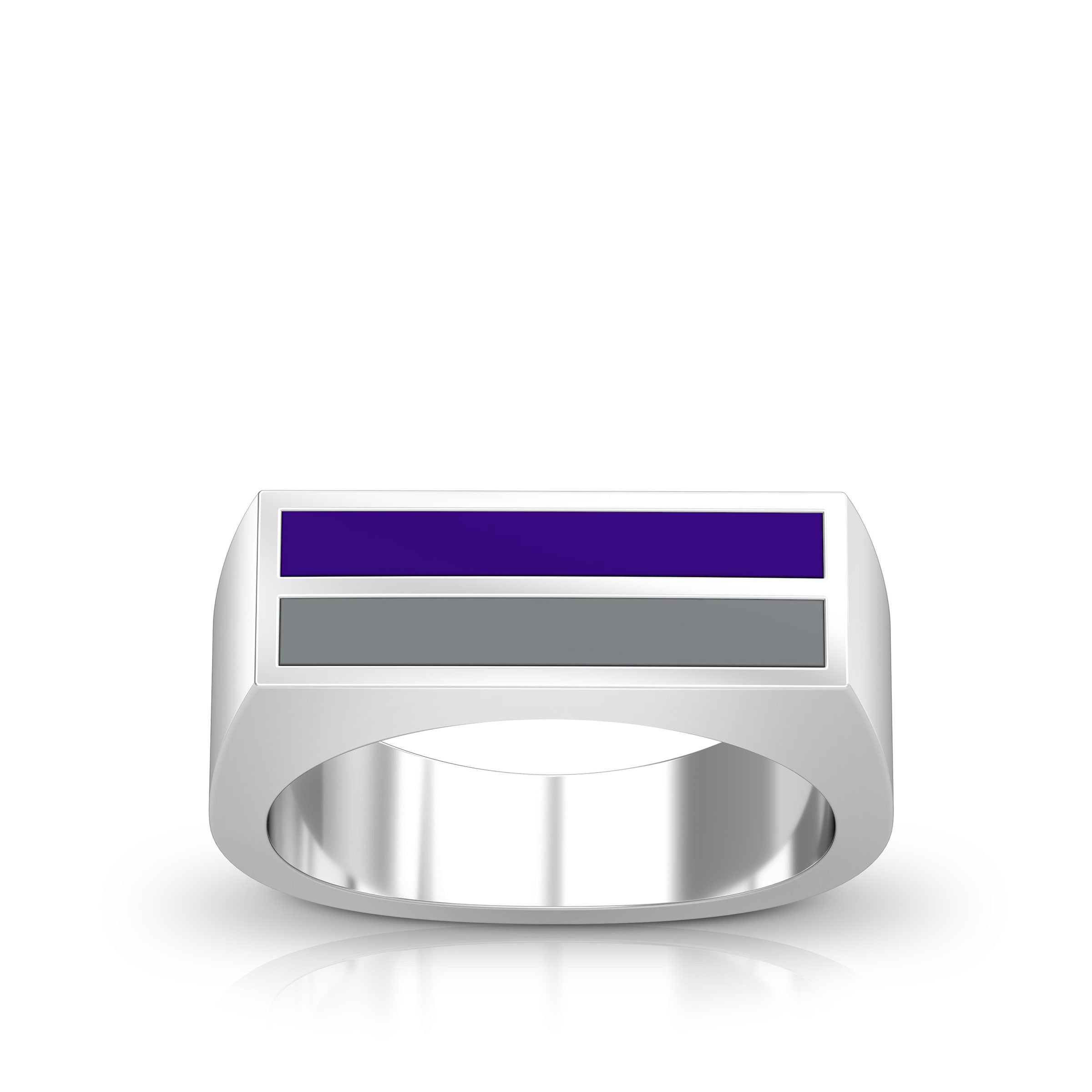 Enamel Ring in Purple and Light Grey Size 8