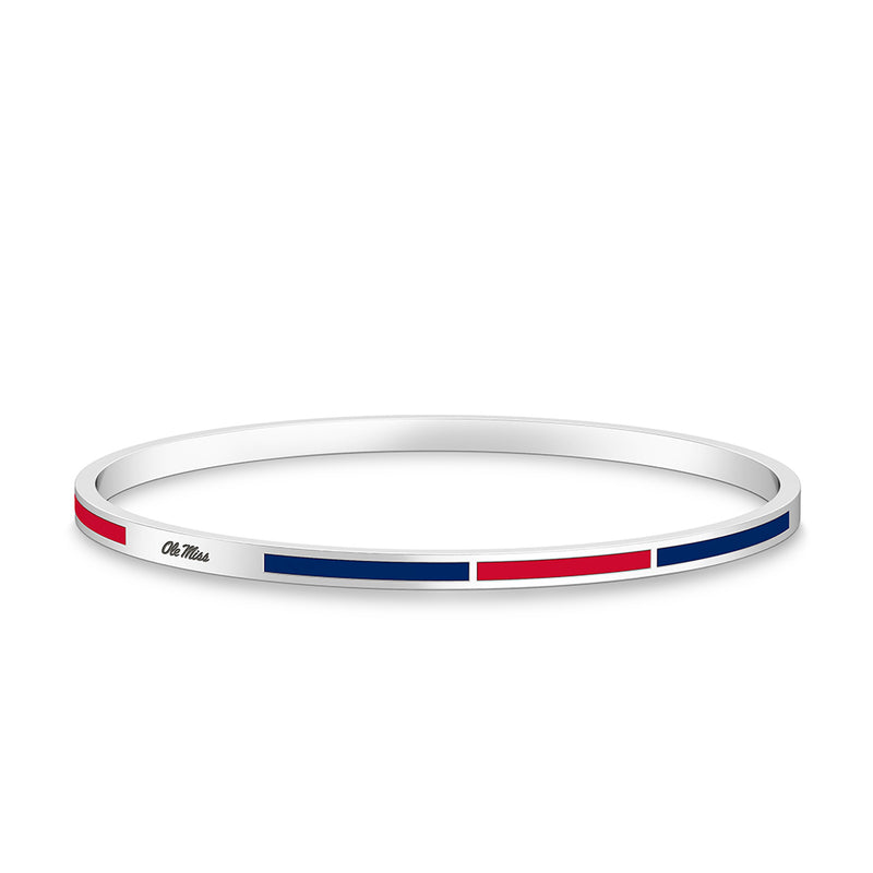 Ole Miss Engraved Two-Tone Enamel Bracelet in Red and Blue Size S