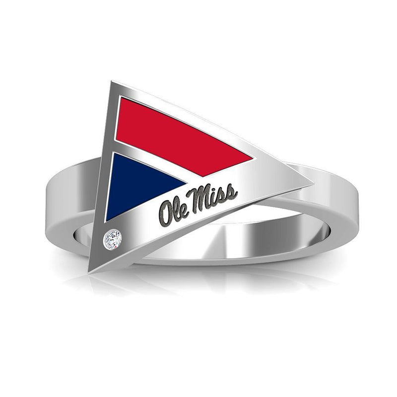 Ole Miss Engraved Diamond Geometric Ring in Red and Blue Size 6