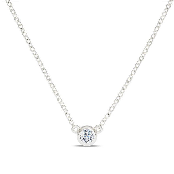 Stackable Diamond Solitaire Pendant in 14K Gold