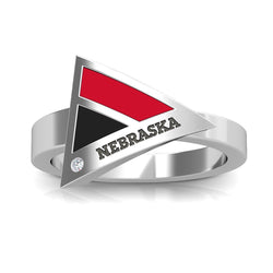 Nebraska Engraved Diamond Geometric Ring in Red and Black Size 10