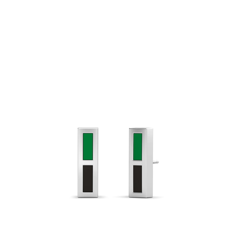 Enamel Stud Earrings in Green and Black