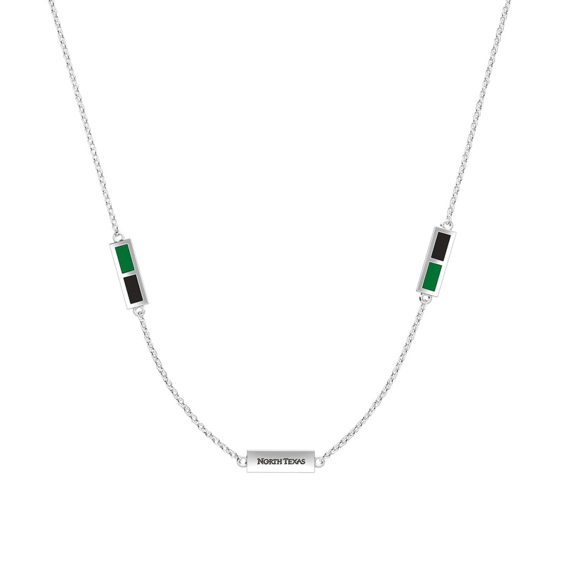 North Texas Engraved Triple Station Necklace in Green and Black Size 16