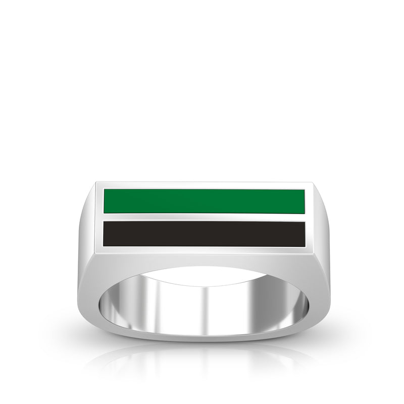 Enamel Ring in Green and Black Size 11