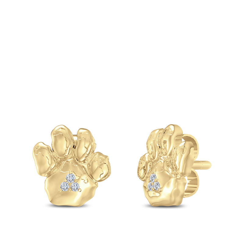 PITT Panther Paw Diamond Stud Earrings in 14K Yellow Gold