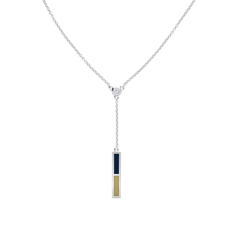 Diamond Drop Necklace in Dark Blue and Tan Size 18