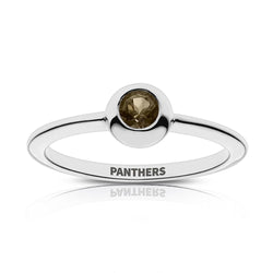 Panthers Engraved Light Smokey Quartz Ring Size 7