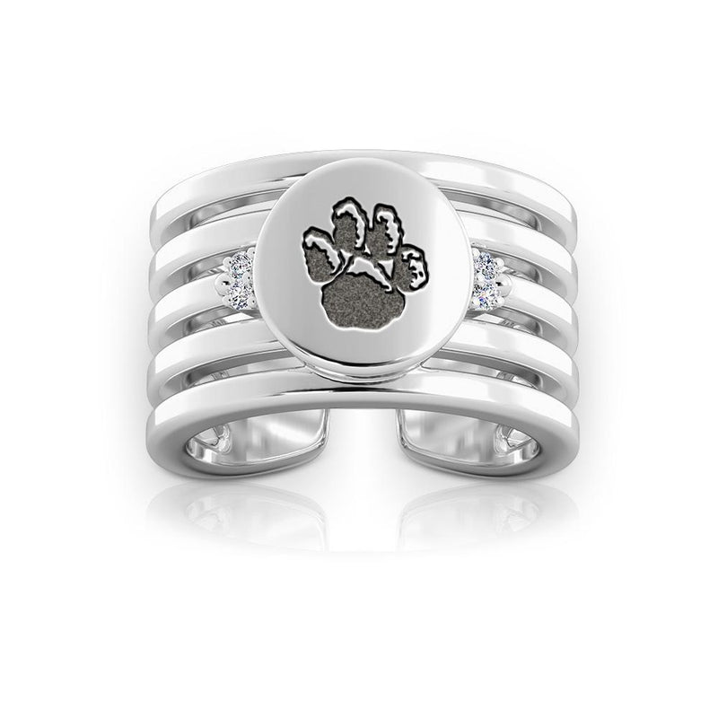 Panthers Logo Engraved Multiband Cuff Ring Size 7