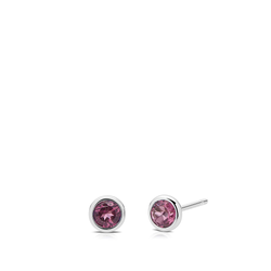 Pink Tourmaline Bezel Stud Earrings in Sterling Silver