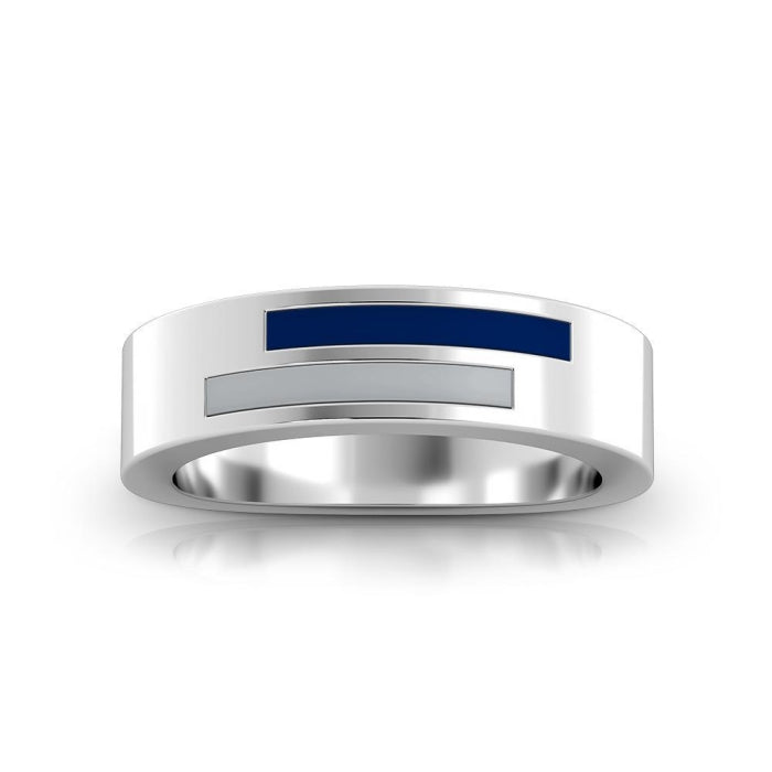 Asymmetric Enamel Ring in Blue and Grey Size 5