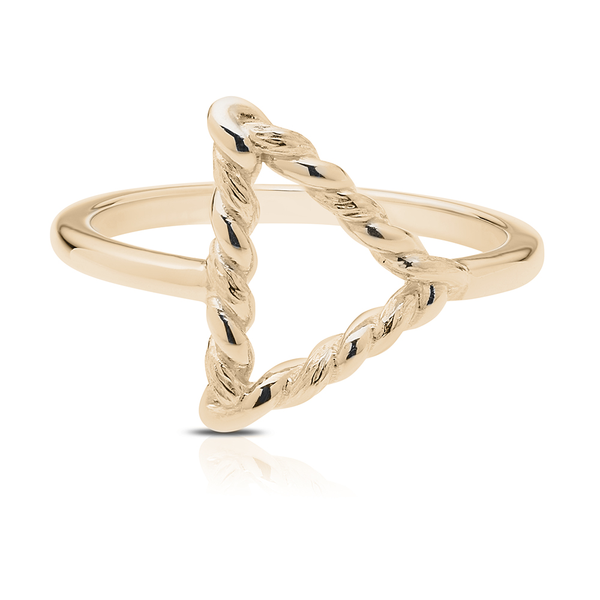 Twisted Geometic Ring in 14K Yellow Gold