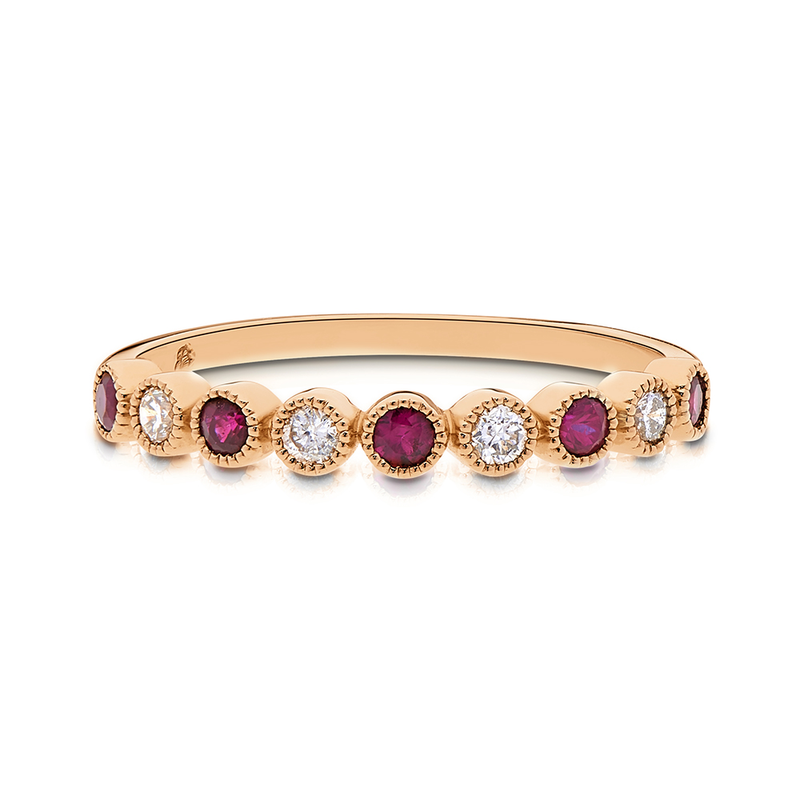Diamond & Pink Tourmaline Bezel Stackable Ring in 14K Yellow Gold