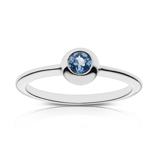 Blue Sapphire Stackable Bezel Ring in Sterling Silver
