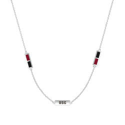 South Carolina Engraved Triple Station Necklace in Dark Red and Black Size 18