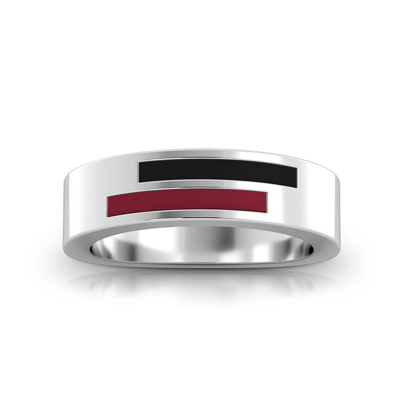 Asymmetric Enamel Ring in Dark Red and Black Size 6