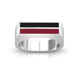 Enamel Ring in Dark Red and Black Size 12