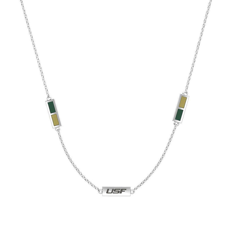 USF Engraved Triple Station Necklace in Green and Tan Size 20