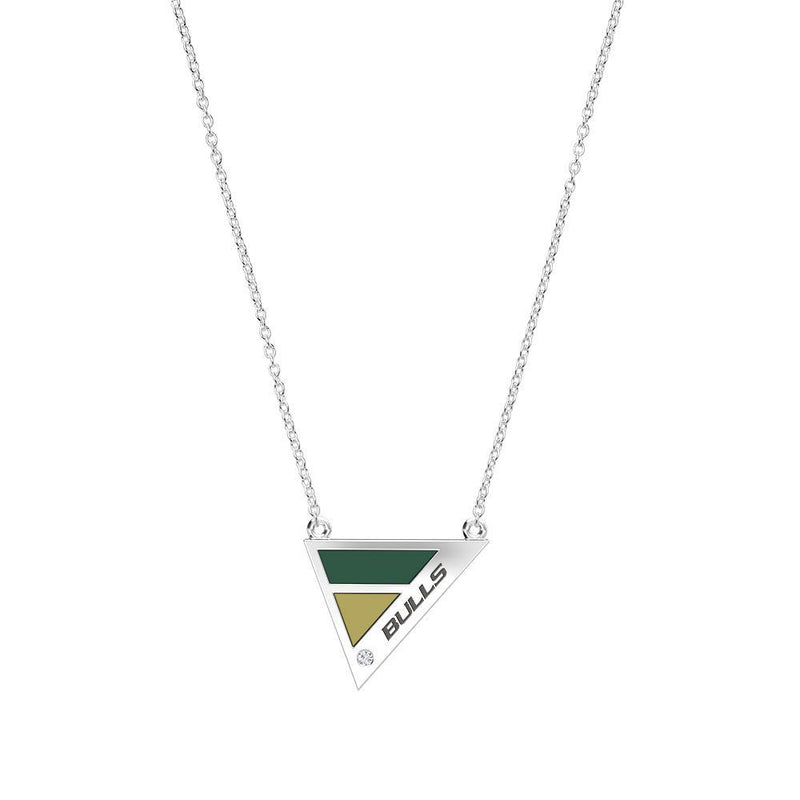 Bulls Engraved Diamond Geometric Necklace in Green and Tan Size 16