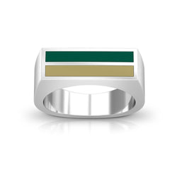 Enamel Ring in Green and Tan Size 10