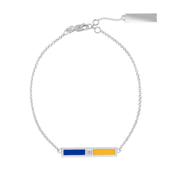 Diamond Bar Bracelet in Blue and Yellow